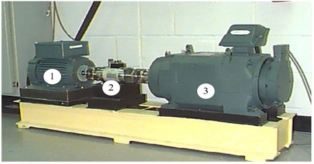 Bearing experiment rig: (1) – motor, (2) – torque transducer, (3) – dynamometer
