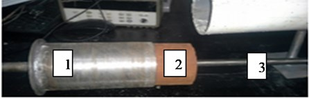 Loading the material to be tested.  1. Sample carrier; 2. Stabilized earth sample; 3. Rod carrying the microphone