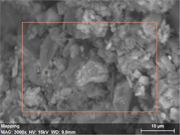 The scanning electronic microscopy and energy spectrum of  10 % cement content in the environment of pH = 10