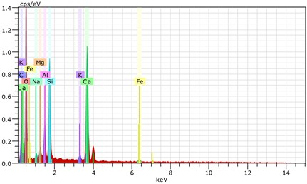 The scanning electronic microscopy and energy spectrum of  13 % cement content in the environment of pH = 10