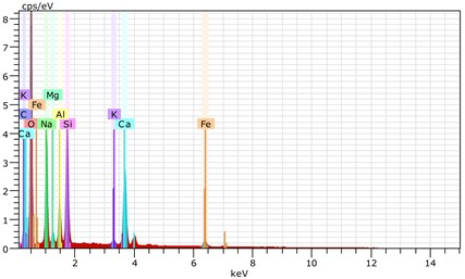 The scanning electronic microscopy and energy spectrum  of 13 % cement content in the environment of pH = 13