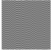 Encoding procedure in DVC: a) secret image; b) secret image is straightforwardly embedded into stationary moiré grating at λs=0.33,λb=0.40; c) encoded secret image after phase regularization;  d) random scrambling of the initial phases completely hides the secret