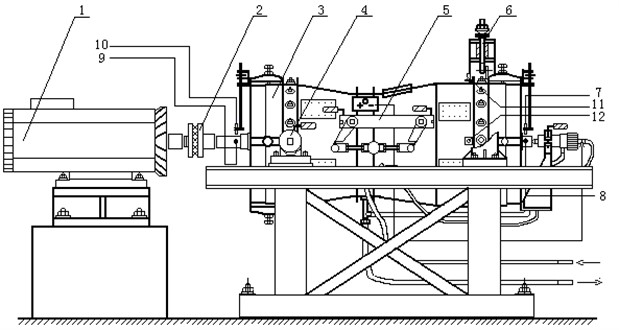 Structure of aero-engine rub-impact rotor tester: 1 – motor, 2 – coupling, 3 – engine model,  4 – front horizontal support, 5 – eccentric transmission and locking mechanism,  6 – hanging, 7-10 – displacement sensor, 11-12 – acceleration sensor