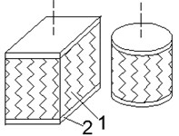 Schemes of typical elastomeric shock absorbers:  a) solid, b) blocks of TRME; 1 – elastomer, 2 – rigid plate