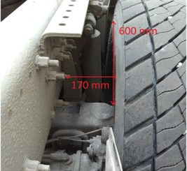 The view of the place of measurement, the method of fixing the sensors, b) the acceleration sensor of the body, c) the laser sensor of the displacement of the wheel relative to the body