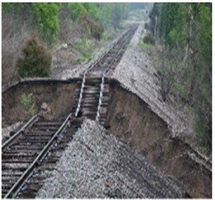 Failures of: a) saturated railway embankment in 2011,  b) mud pumping under dynamic train loads in UK