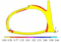 The first principal stress of the structure after the secondary lining (unit: MPa)