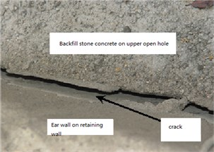 Some cracks at the exit of the right line of the Changwuling Tunnel