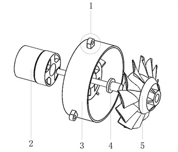 Structure and dynamic model of leaf blower power system where:  1 – bolt hole, 2 – motor, 3 – collector, 4 – shaft, 5 – fan