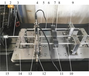 Multiple parallel gear shafts test rig: 1 – motor, 2 – photoelectric sensor, 3 – drive shaft,  4 –acceleration sensor 1, 5 – acceleration sensor 2, 6 – driven shaft 2, 7 – driven gear 2,  8 – drive gear, 9 – ISFD elastic damping support, 10 – driven shaft 1, 11 – driven gear 1,  12 – acceleration sensor 3, 13 –acceleration sensor 4, 14 – base plate,15 – coupling