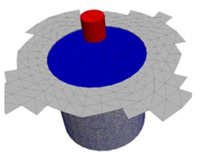 Continuum-discrete coupling model set-up: a) coupled continuum-discrete model with free-field boundary condition, b) monitoring points of acceleration, pressure and porosity in the model,  c) continuum model of foundation with a quarter removed, d) discrete model with particles and walls