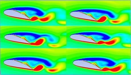 Vortex shedding at different times (t= 2 sec,  t= 4 sec, t= 6 sec, t= 8 sec, t= 10 sec, t= 11 sec)
