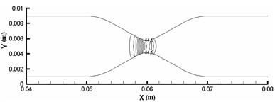 Pressure contour of rigid vascular model