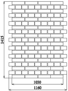 The shape and overall dimensions of: a) masonry wall specimens  in author's tests, b) relationship Gobs–τobs for tested wallettes