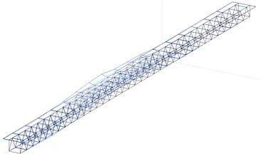 The 1st identified mode-shape:  a) measurement in 2017 (f= 0.89 Hz), b) FEM model (f= 0.78 Hz)
