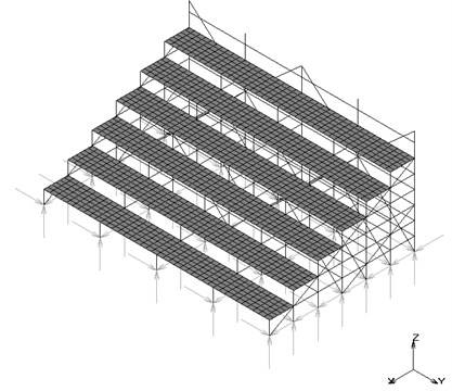 FE model of a temporary steel grandstand considered in the study