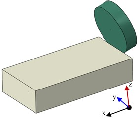 Schematic diagram of simulation model and rock cutting setup
