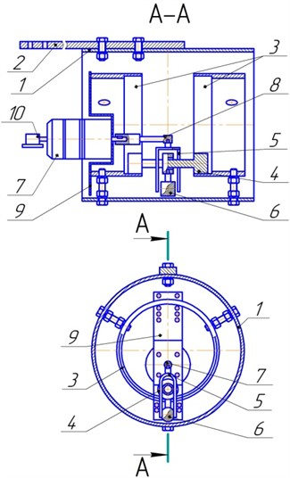 The design of the experimental stand of the planetary vibration exciter: 1 – body;  2 – strain girder; 3 – treadmill; 4 – inertial slider; 5 – drove; 6 – pendulum anti-skid device;  7 – the engine; 8 – drive shaft sleeve; 9 – engine mounting panel