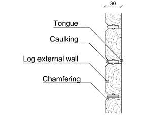 a) Wooden floor section detail, b) external log wall detail