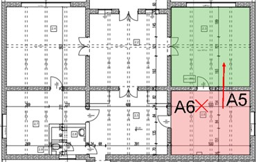 a) Room 2.6 with equipment for airborne sound insulation measurements,  b) test plan for partition between 206/203 (A5) and floor 206/101 (A6)