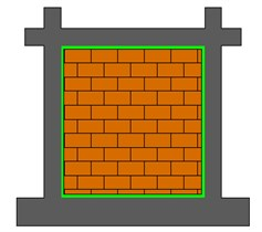 Analyzed infill structures with masonry walls connected to RC frames with: a) stiff connection around the wall, b) flexible PM connection at 3 boundaries, c) flexible PM connection at 4 boundaries