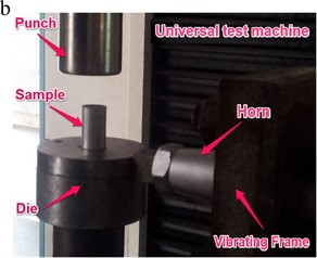 Vibrating extrusion of thin-walled tube with filler. a) Schematic of the experiment setup;  b) photograph of the experiment setup