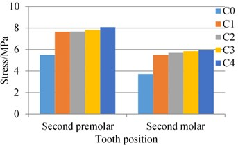 Stress of the alveolar bone around natural teeth adjacent to the implant