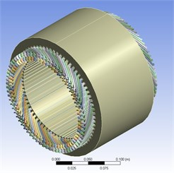 3D model of stator and its winding