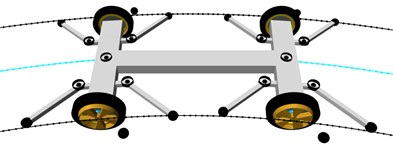 Basic running modes: a) in two-edge guideway, b) in one-edge guideway, at switch