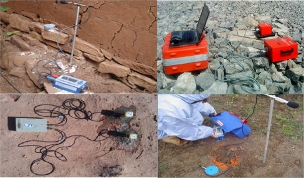 Various seismographs deployed in mines to measure the ground vibration