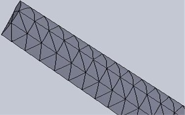 The mesh diagram used for the FEM model of the blade