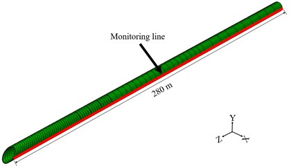 Monitoring line of the tunnel lining