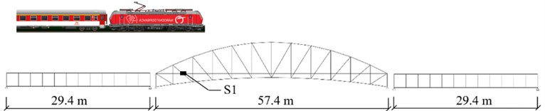 One of the tested bridges (T2) and the location of sensor S1 on the upper flange of a stringer