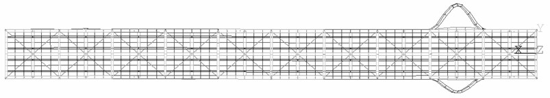 FEM of the truss bridge with local mode-shapes of the diagonal members (the 1st tensioned)