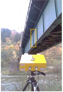 Measured points: a) at box girder spans, b) at truss girder span