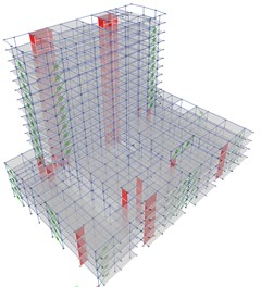 a) 3D Model with VFDs, b) Z-Y view, without walls