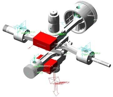 Dynamic model of crank-connecting rod mechanism