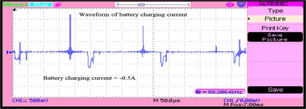 Battery charging current when excess power from source