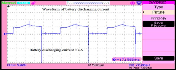 Battery discharging current when load power demands