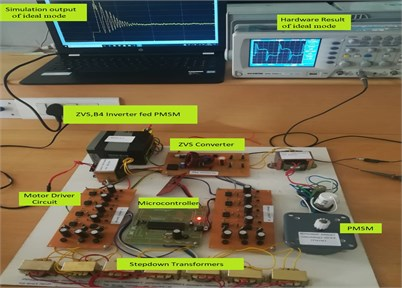Prototype test set up for battery ideal mode  of operation to PMSM drive