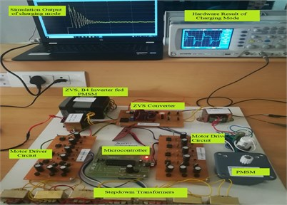 Prototype test set up for battery charging mode of operation to PMSM drive