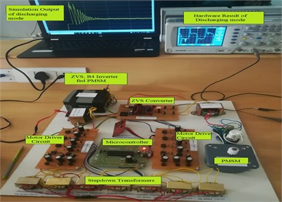 Prototype type set up for battery discharging mode of operation to PMSM drive