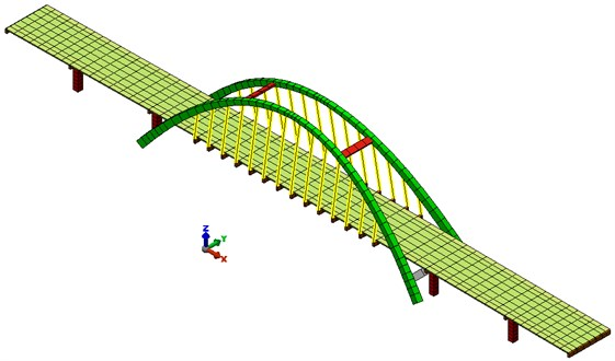 FEA model of the viaduct – view from the top