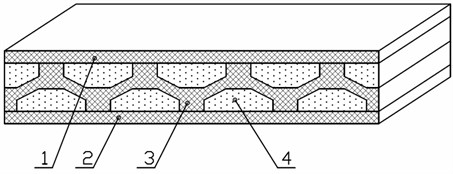 Concept of vibroprotection metamaterial with internal structure that provides quasi-zero rigidity.  1, 2 – elastic layers, 3 – inner layer; 4 – placeholder; 5 – top supporting wall of single cell;  6 – inclined wall of single cell; 7 – upper supporting wall of one cell