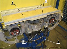 Experimental setup (1 – vibration stand, 2 – unbalanced exciters, 3 – plate, 4 – stiffeners)