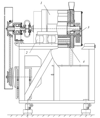 Vibratory grinding machine schematic diagram: 1 – housing, 2 – vibration shock  absorbers, 3 – unbalanced vibration exciter,  4 – one chamber with rollers