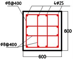 Reinforcement diagram of reinforced concrete pile section