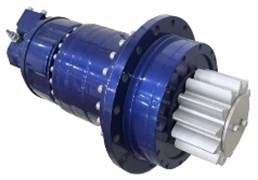 a) Siebenhaar CLP220 Slewing gear, b) internal structure of the gearbox