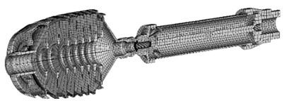 Example of rotor FE model longitudinal section
