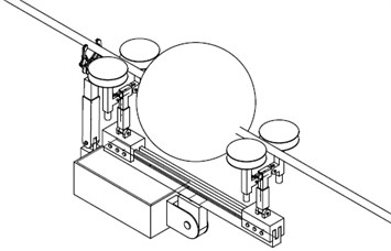 Scheme of the electrical transmission inspection robot while passing the warning ball